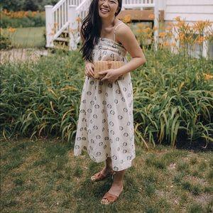 Cream dot smocked dress